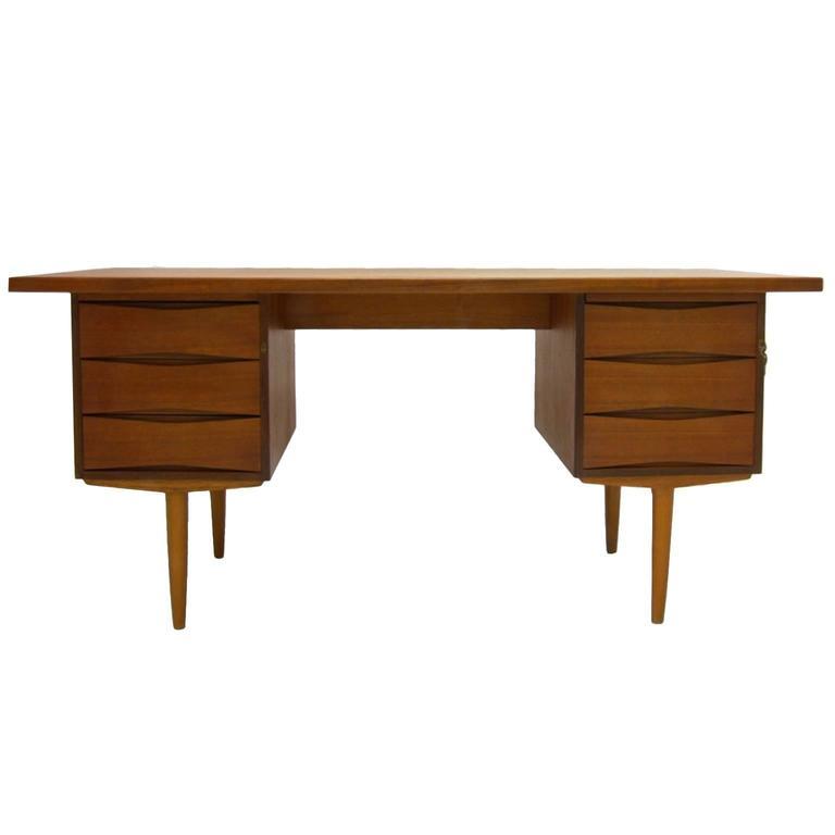 excellent sleek and functional arne vodder teak desk with file