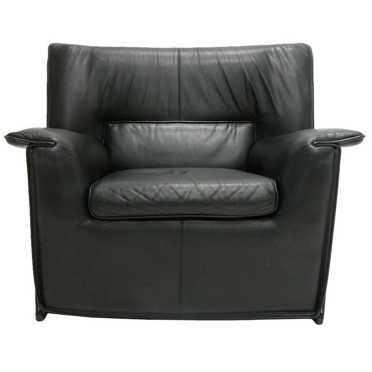 Afra and Tobia Scarpa for B & B Italia Black Leather Lounge Chair