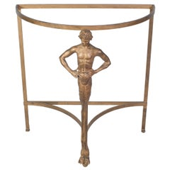 Metal Demilune Table with a Faun Leg and Glass Top