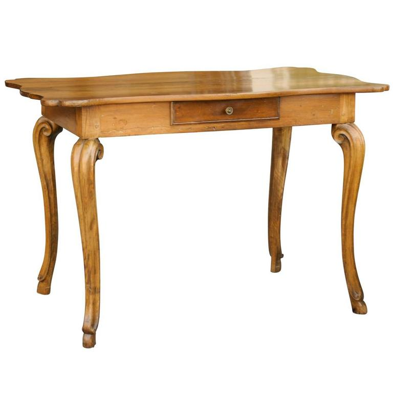 French 1850 Writing table with Curvy Top, Single Drawer and Cabriole Legs