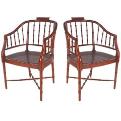 Faux Bamboo Chinese Chippendale Armchairs by Baker