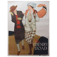 Original Vintage 1920s Poster by Anita Parkhurst - The Friendly Road - YWCA