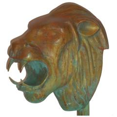 1960s Bronze Lion Head Statue