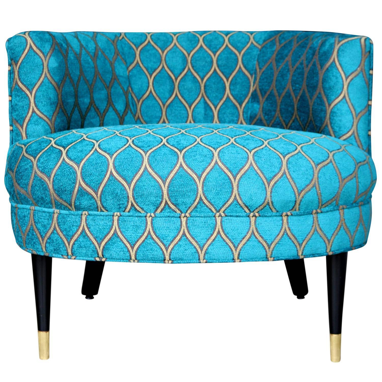 Mid Century Barrel Back Armchair With Peacock Arabesque