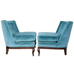 Pair of 1960s Blue Velvet and Walnut Slipper Chairs