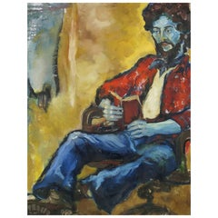 Large and Colorful Expressionist Portrait Signed An Hua Hsiung