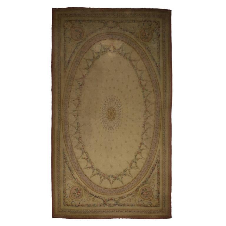 Antique European Aubusson Gallery Rug with French Provincial Style