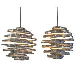 Pair of Aluminum Cyclone Pendant Lamps by Max Sauze for Sciolari