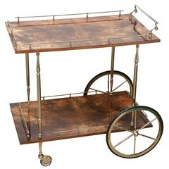 Italian Aldo Tura Lacquered Goatskin/ Nickel Silver Two-Tiered Bar Cart/Trolly