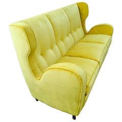 3-Seat Sofa, Design Nino Zoncada, 1949 Yellow Velvet