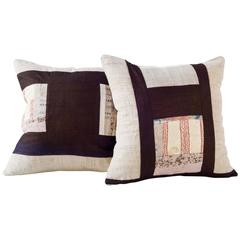 Graphic Vintage Textile Pillow in Creams and Tans
