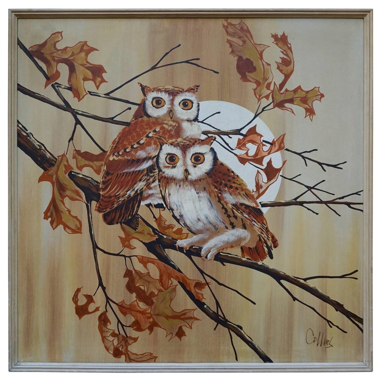 Painting of Two Owls For Sale