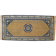 Antique Chinese Ning Xia Oriental Rug, Small Runner Size, Light Blue, circa 1890