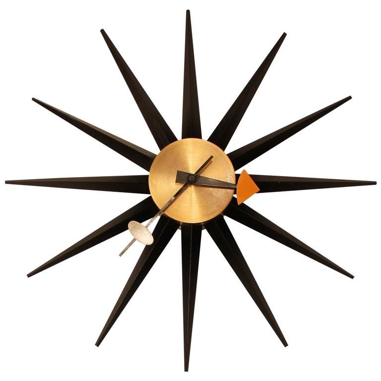 George nelson for howard miller sunburst clock at 1stdibs for Nelson wall clock