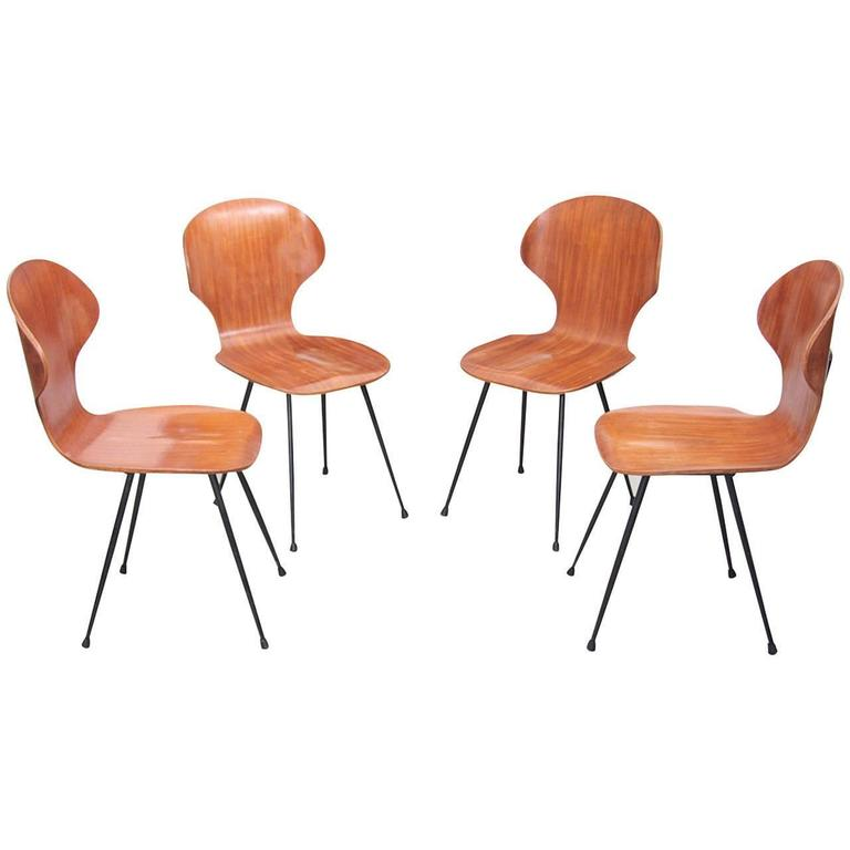 set of four chairs by carlo ratti in plywood for lissoni 1