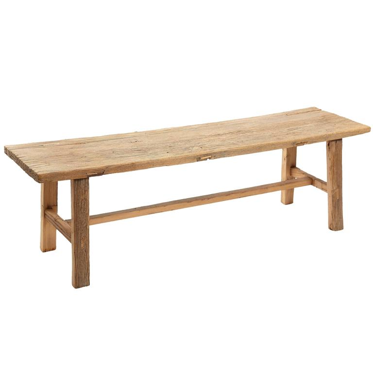 Rustic Elm Wood Bench--Four Available