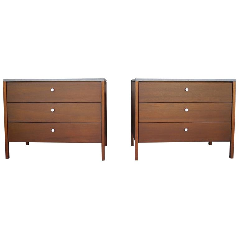 Walnut Dressers, Nightstands with Polished Concrete Tops by Florence Knoll