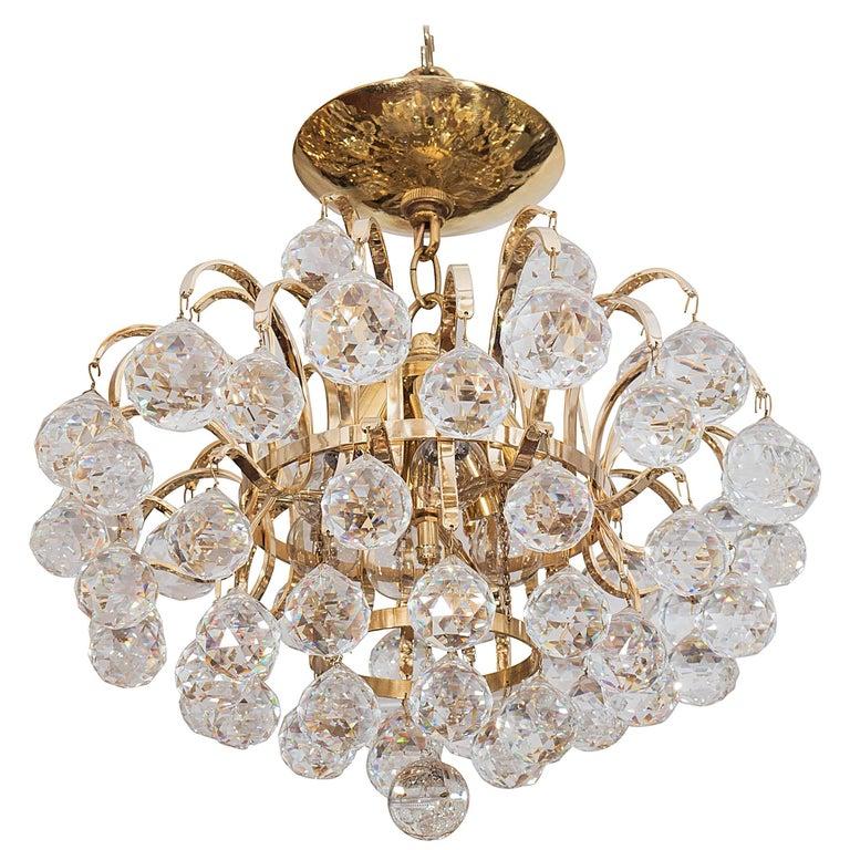 Brass Crystal Drop Chandelier For Sale