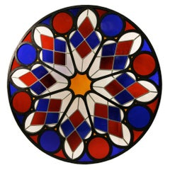 Rare Stained Glass Ceiling Rose, France 19th Century