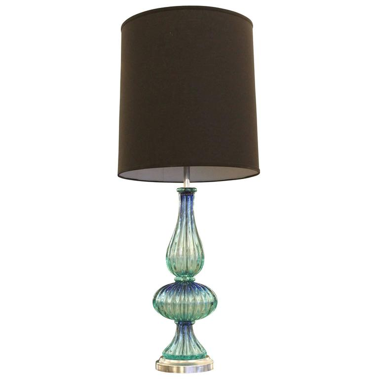 Aqua Murano Glass Table Lamp Italy 1960s For Sale At 1stdibs
