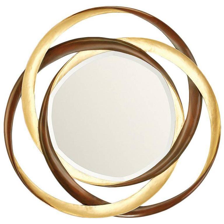 Mirror Gold Circles in Mahogany Wood Gold Finish