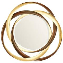 Mirror Gold Circles in Mahogany Wood Gold Finish