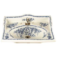 Decorative Sink Basin with Transfer Blue Floral Pattern