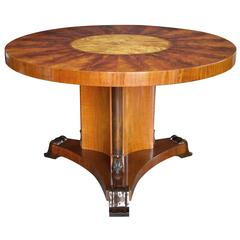 Finely Crafted Swedish Art Deco Flame Mahogany and Birch Wood Circular Table