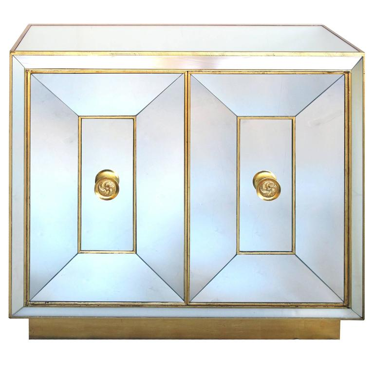 Glamorous American Hollywood Regency Mirrored Two Door Cabinet For