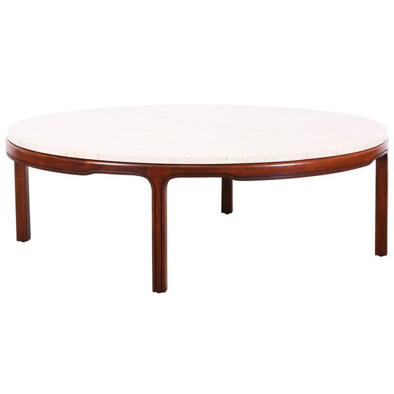 Midcentury Walnut Coffee Table With Round Travertine Top For Sale At 1stdibs