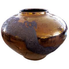 Impressive West German 1990s Copper Metallic and Lava-Glazed Ceramic Vase