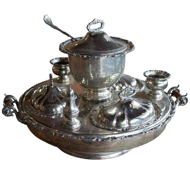 Complete Antique English Silver Plated Revolving Supper