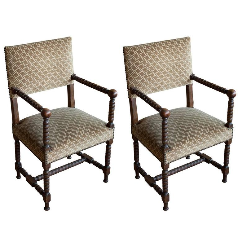 Pair of Antique Jacobean Style Bobbin Turned Chairs For Sale - Pair Of Antique Jacobean Style Bobbin Turned Chairs At 1stdibs