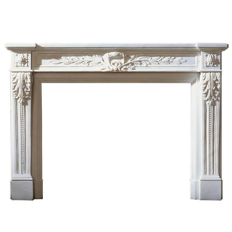 Reproduction of an 18th Century French Mantel in Statuary Marble