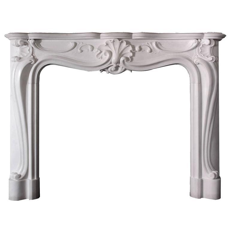 Rococo Style Statuary Marble Mantel