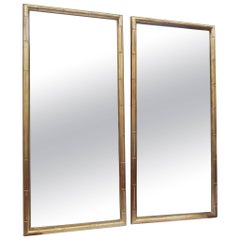 Pair of Simplistic Faux Bamboo-Framed Mirrors