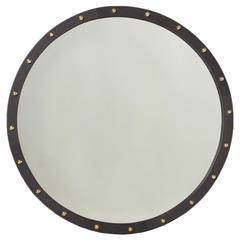 Round Exotic Hardwood Mirror with Antique Bronze Details