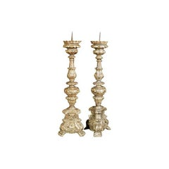 Pair of Large Gilded Candlepricks