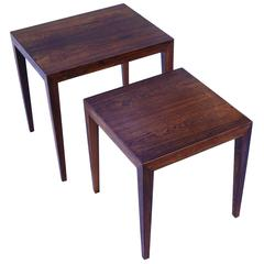 Severin Hansen Rosewood Danish Scandinavian Modern Nesting Stackable Side table