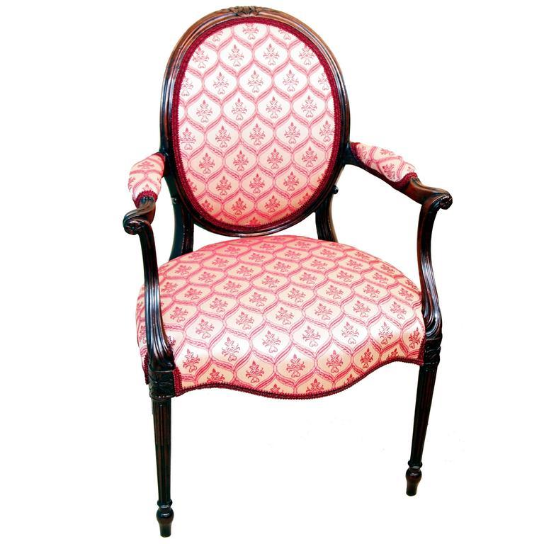Antique Hepplewhite Period Mahogany Armchair For Sale