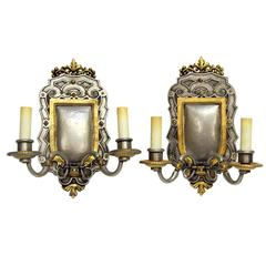 1900s Pair of Gilt and Pewter Two-Arm Bronze EF Caldwell Sconces
