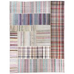Oversize Striped Cotton Turkish Kilim Rug