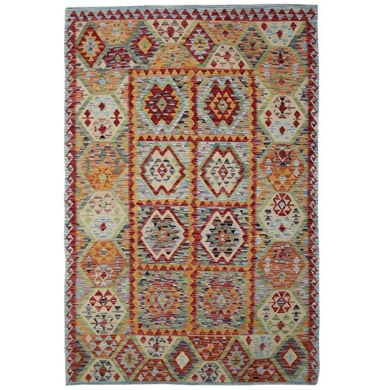 Kilim Rugs With Light Green And Deep Red For Sale At 1stdibs