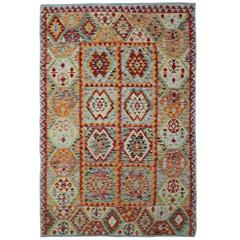 Afghan Kilim Rugs with Light Green and Deep Red