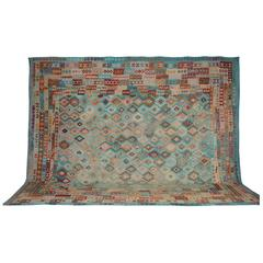 Afghan Rugs, Kilim Rugs with salmon and tourquise blue colors