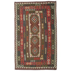 Handmade Kilim Rugs, Traditional Rugs, Colorful Rugs Brown Carpet