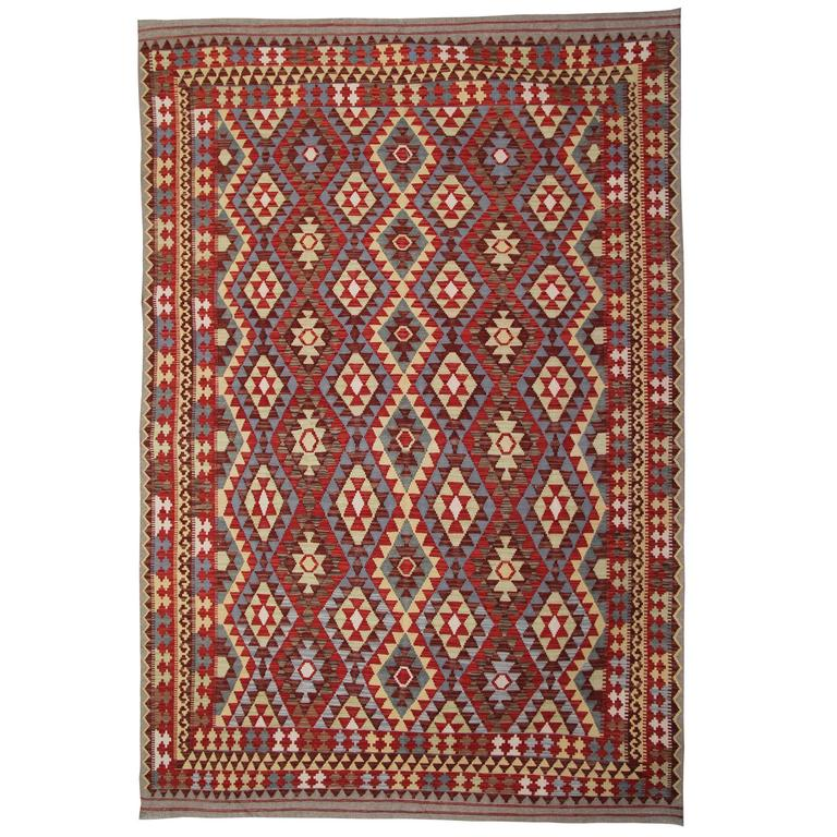 Afghan Kilim Rugs, Patterned Rug in Ivory, Green Color