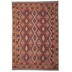 Afghan Kilim Rugs, Patterned Rug in Ivory, Red Rug Color