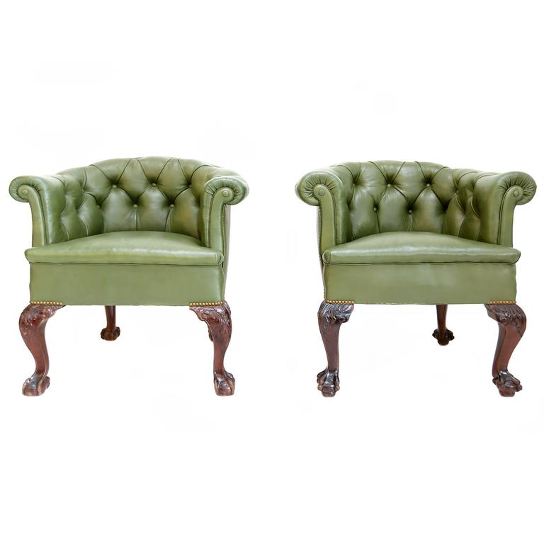 Pair of Chesterfield club chairs, 1960s