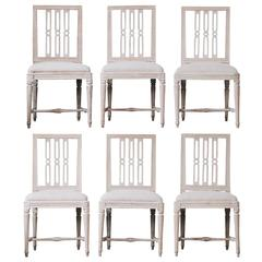 Set of six 18th century Gustavian dining chairs